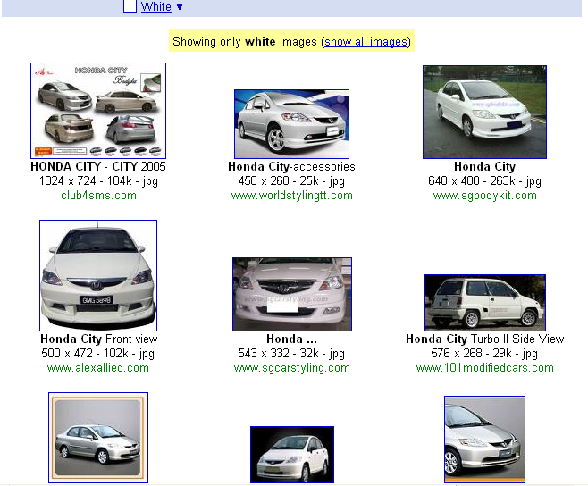Say for example, I'd really like to see a Honda City in white:
